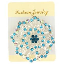 Broche bijou fleur en métal décoré strass fantaisie déco NEUVE
