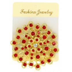 Broche bijou fleur en métal décoré strass fantaisie déco vêtements divers occasions NEUVE