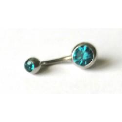 Piercing nombril avec strass bleu turquoise en acier chirurgical anti allergie neuf sous blister