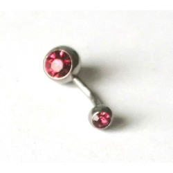 Piercing nombril avec strass rose en acier chirurgical anti allergie neuf sous blister