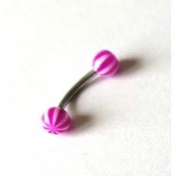 Piercing nombril boule ronde rose/blanche en acier chirurgical boule plastique anti allergie neuf sous blister