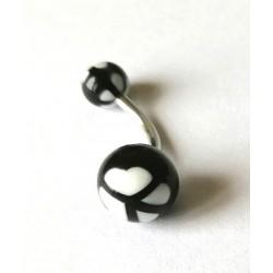Piercing nombril boule ronde noire/blanche en acier chirurgical boule plastique anti allergie neuf sous blister