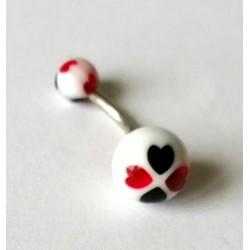 Piercing nombril boule ronde noire/blanche/rouge en acier chirurgical boule plastique anti allergie neuf sous blister