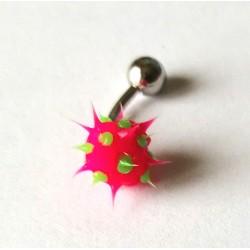 Piercing nombril forme virus rose/vert en acier chirurgical bout plastique anti allergie neuf sous blister