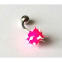 Piercing nombril forme virus rose/blanc en acier chirurgical bout plastique anti allergie neuf sous blister