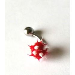 Piercing nombril forme virus rouge/blanc en acier chirurgical bout plastique anti allergie neuf sous blister