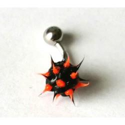 Piercing nombril forme virus noir/orange en acier chirurgical bout plastique anti allergie neuf sous blister
