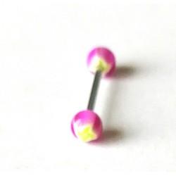 Piercing langue forme rondes rose/jaune en acier chirurgical bout plastique anti allergie neuf sous blister