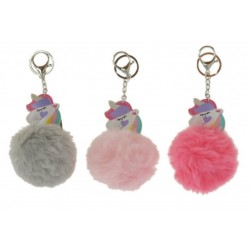 Porte clé licorne v03 orné d'un pompon en fausse fourrure diverses couleurs bijoux fantaisie déco NEUF
