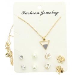 Parure collier chaîne doré pendentif et 4 paires de boucles d'oreille v02 bijoux fantaisie mariage baptême communion NEUF