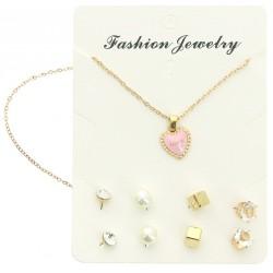 Parure collier chaîne doré pendentif coeur et 4 paires de boucles d'oreille v03 bijoux fantaisie mariage baptême communion NEUF