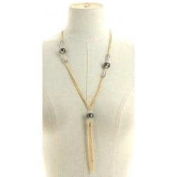 Collier long perles avec pendants chaînes divers occasions mariage baptême communion NEUVE