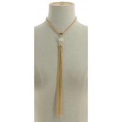 Collier pompon à franges en chaîne doré pendants divers occasions mariage baptême communion NEUVE