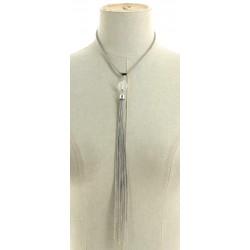 Collier pompon à franges en chaîne argenté pendants divers occasions mariage baptême communion NEUVE
