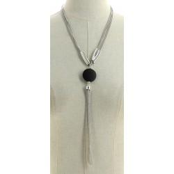 Collier multi-chaînes avec pendentif ovales en chaîne argenté diverses occasions mariage baptême communion NEUVE