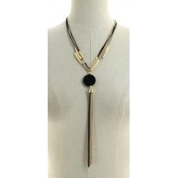 Collier multi-chaînes avec pendentif ovales en chaîne noire et doré diverses occasions mariage baptême communion NEUVE