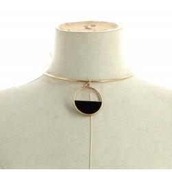 Collier ras de cou métal pendentif anneaux doré / noir diverses occasions mariage baptême communion NEUVE