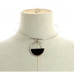 Collier ras de cou métal pendentif anneaux argenté / noir diverses occasions mariage baptême communion NEUVE