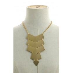Collier plastron pendentif forme géométrique métal doré diverses occasions mariage baptême communion NEUVE