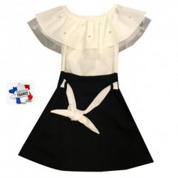 Robe Fille bi color Blanc/noir modèle Elise du 4 au 14 ans vêtement mariage bapteme communion idée cadeau neuve