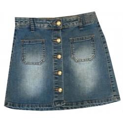 Jupe en jean pour fille boutonné devant et poche palqué du 4 au 14 ans vêtement idée cadeau neuve
