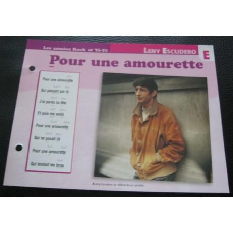 """FICHE FASCICULE """"PAROLES DE CHANSONS""""LENY ESCUDERO pour une amourette 1962"""