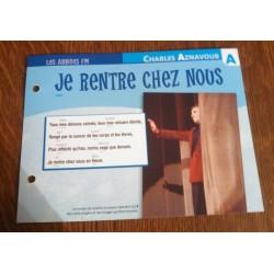"""FICHE FASCICULE """"PAROLES DE CHANSONS""""CHARLES AZNAVOUR je rentre chez nous 1987"""