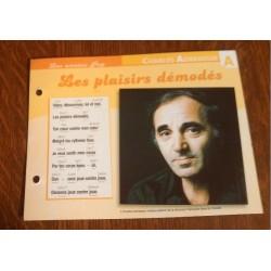 """FICHE FASCICULE """"PAROLES DE CHANSONS""""CHARLES AZNAVOUR les plaisirs démodés 1972"""