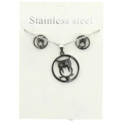 Parure collier avec boucles d'oreilles pendentif hibou bijoux fantaisie mariage baptême communion idée cadeau NEUF