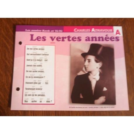 """FICHE FASCICULE """"PAROLES DE CHANSONS""""CHARLES AZNAVOUR les vertes années 1967"""