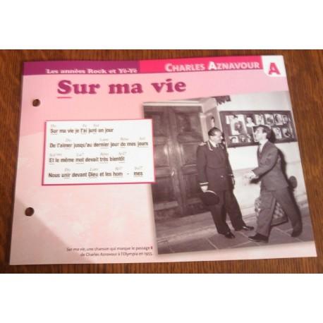 """FICHE FASCICULE """"PAROLES DE CHANSONS"""" CHARLES AZNAVOUR sur ma vie 1955"""