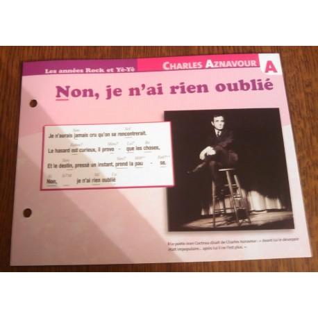 """FICHE FASCICULE """"PAROLES DE CHANSONS"""" CHARLES AZNAVOUR non je n´ai rien oublié 1961"""