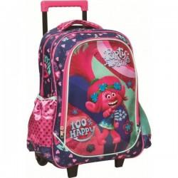 Sac à dos Trolley Trolls 46 cm licence Disney qualité supérieure cartable scolaire enfant neuf