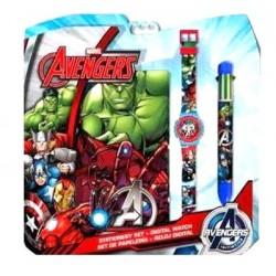 Set Avengers licence Marvel Bloc Note + montre + stylo 6 couleurs idée cadeau anniversaire noel neuf