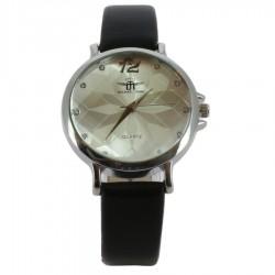 Montre argentée décorée motif en rosace sur un bracelet noir femme idée cadeau anniversaire fête des mères noël NEUVE