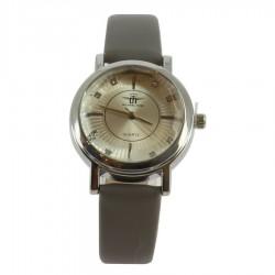 Montre ronde argentée avec bracelet simili cuir gris femme idée cadeau anniversaire fête des mères noël NEUVE