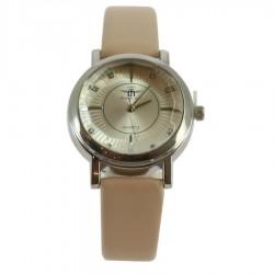 Montre ronde argentée avec bracelet simili cuir beige femme idée cadeau anniversaire fête des mères noël NEUVE