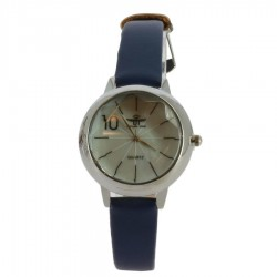 Montre à bracelet bleu avec boitier en acier argent femme idée cadeau anniversaire fête des mères noël NEUVE