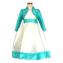 Robe ivoire avec ceinture à nouer au dos et boléro turquoise 2 au 12 ans demoiselle d'honneur mariage communion neuve