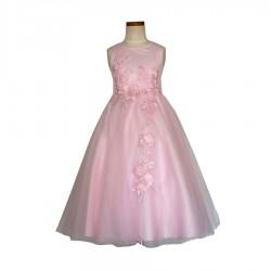 Robe ivoire ornée avec application dentelles fleurs rose 8 au 16 ans demoiselle d'honneur mariage communion neuve