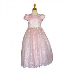 Robe rose dentelle florale avec zip et à nouer au dos 4 au 14 ans demoiselle d'honneur mariage communion neuve