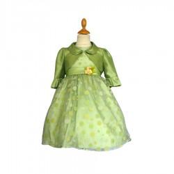 Robe vert anis à pois avec ceinture ruban fleurs et boléro 2 au 10 ans demoiselle d'honneur mariage communion neuve