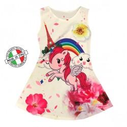 Robe Fille sans manches Blanche Modèle Licorne arc en ciel du 2 au 8 ans vêtement enfant idée cadeau anniversaire neuve