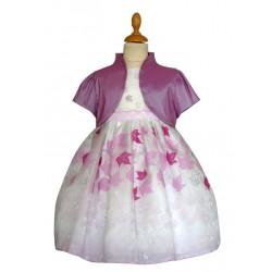 Robe imprimé feuilles avec boléro manches courtes parme 2 au 12 ans demoiselle d'honneur mariage communion neuve