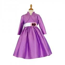 Robe parme ceinture plissée fleurs et boléro manches longues 2 au 12 ans demoiselle d'honneur mariage communion neuve