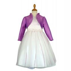 Robe ivoire fleurs devant ceinture et boléro manches longues 2 au 12 ans demoiselle d'honneur mariage communion neuve