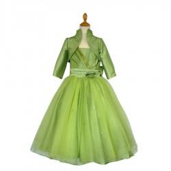 Robe drapée au buste ceinture plissé à fleur boléro vert anis 8 au 16 ans demoiselle d'honneur mariage communion neuve