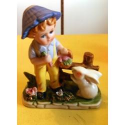 Petite décoration céramique barbotine enfant lapin décor hauteur 15 cm