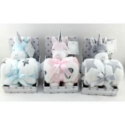 Plaid polaire avec Peluche doudou licorne bleu ,rose ou gris marque Tom Kids Idée cadeau naissance noel neuf