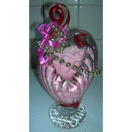 coupe vase transparent/rouge cristal hauteur 22 cm